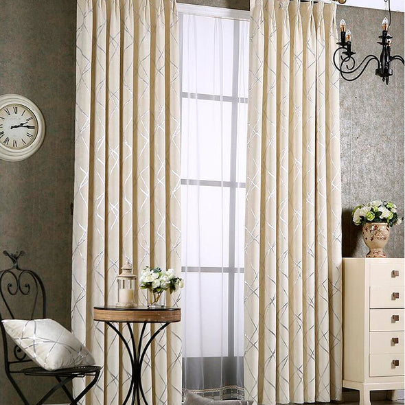 Zoey American Modern Luxury Stripe Pattern Blackout Curtain Set - Ivory - Curtains Online - Discover-curtains