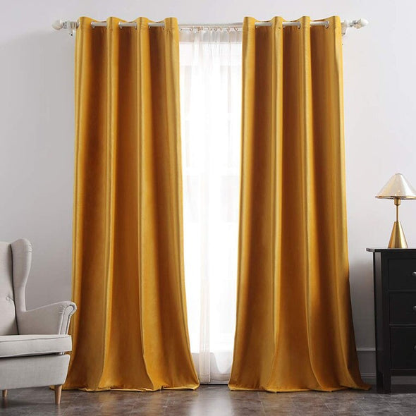 Brittany Velvet Blackout Curtains - Yellow - Curtains Online - Discover-curtains