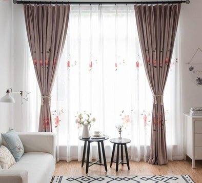 Astor Rideaux Warm Flower Hand Printed Blackout Curtain Set - Curtains Online - Discover-curtains