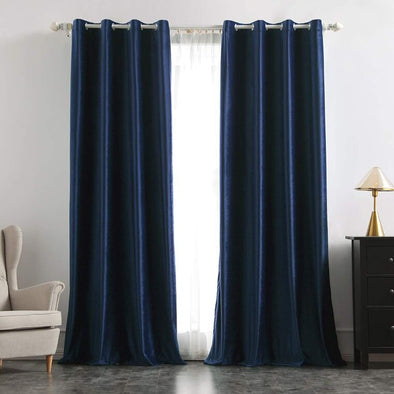 Brittany Velvet Blackout Curtains -Navy Blue - Curtains Online - Discover-curtains