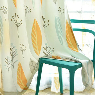 Astor Rideaux Yellow Leaves Blackout Curtain Set - Curtains Online - Discover-curtains
