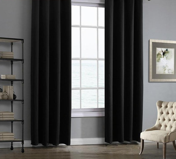Jason Modern Plain Blackout Curtains - Black - Curtains Online - Discover-curtains