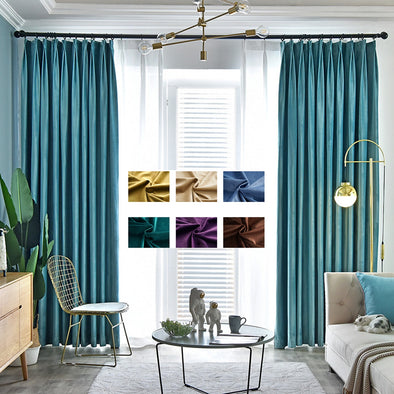 Brittany Luxury Velvet Plain Blackout Curtains - Charming Blue - Curtains Online - Discover-curtains