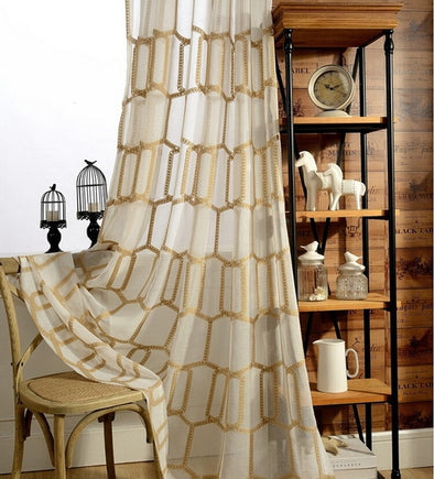 Brittany Golden Honeycomb Embroidery Sheer Curtain - Curtains Online - Discover-curtains