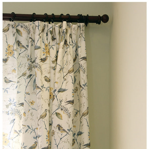 Astor Rideaux American Country Blue Leaf Curtain - Curtains Online - Discover-curtains