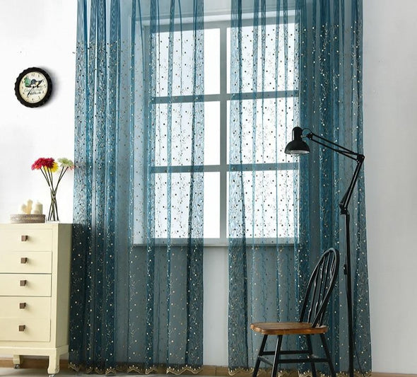 Jason Luxury Embroidered Leaves Sheer Curtain - Green - Curtains Online - Discover-curtains