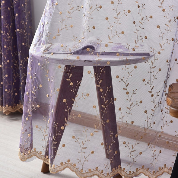 Jason Luxury Embroidered Leaves Sheer Curtain - Purple - Curtains Online - Discover-curtains