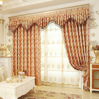 Rémy Classic Luxury Blackout and Sheer Curtain Set - Brown - Curtains Online - Discover-curtains