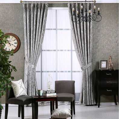 Zoey American Modern Luxury Stripe Pattern Blackout Curtain Set - Silver Gray - Curtains Online - Discover-curtains
