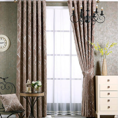 Zoey American Modern Luxury Stripe Pattern Blackout Curtain Set - Tan - Curtains Online - Discover-curtains