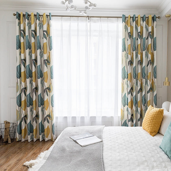 Astor Rideaux Yellow Blue Printed Leaf Blackout Curtain - Curtains Online - Discover-curtains