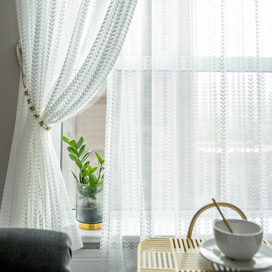 Rémy Modern Luxury White Jacquard Sheer Curtains - Curtains Online - Discover-curtains