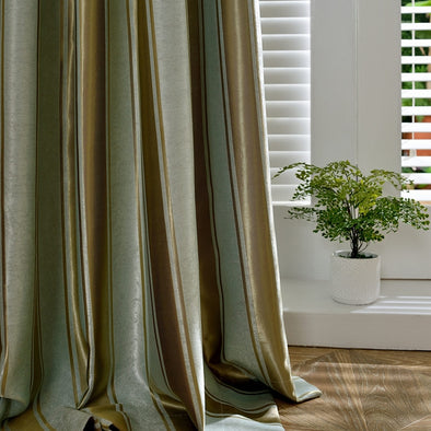 Jessica. J Jacquard Striped Silk Curtain - Curtains Online - Discover-curtains