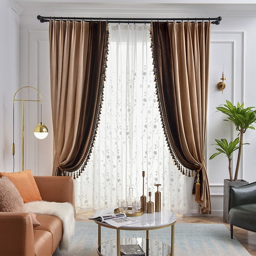 Ethan American Spliced Luxury Velvet Curtains: Taupe-Brown - Curtains Online - Discover-curtains