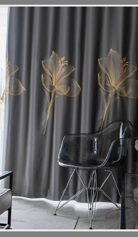 Adelaine Satin Embroidered Blackout Curtains - Gray - Curtains Online - Discover-curtains