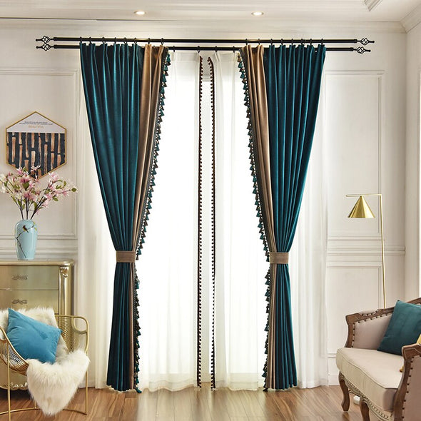Ethan American Spliced Luxury Velvet Curtains: Peacock Green-Beige - Curtains Online - Discover-curtains