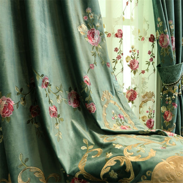 Rémy Luxury Green Velvet Embroidered Curtains - Curtains Online - Discover-curtains