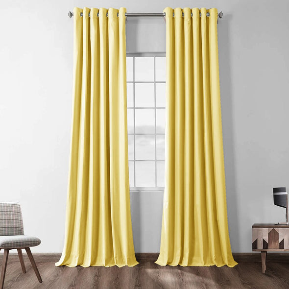 Jason Modern Solid Extra Long Blackout Curtains - Yellow - Curtains Online - Discover-curtains