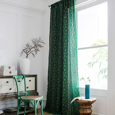 Rémy Green Fine Christmas Bells Print Curtains - Curtains Online - Discover-curtains