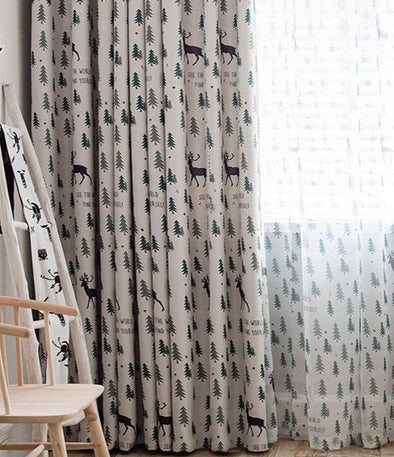 Jason Christmas Tree Print Curtain - Curtains Online - Discover-curtains