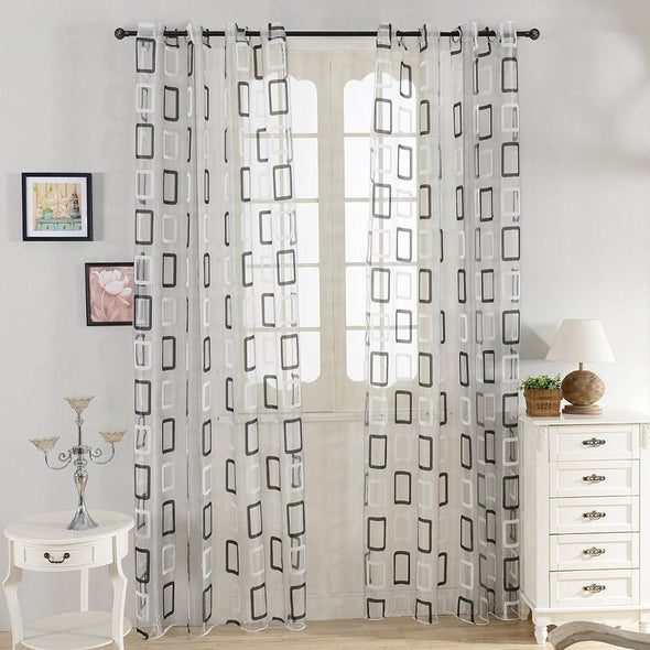 Homespun Rectangular Pattern Sheer Curtains -  Black - Curtains Online - Discover-curtains