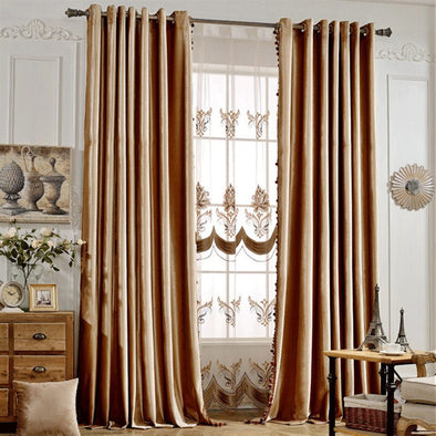 Rémy Luxury European Blackout Tassel Velvet Curtains - Camel