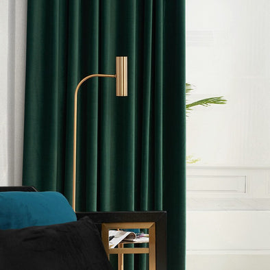 Taylor.H Nordic Velvet Curtain Set- Dark Green - Curtains Online - Discover-curtains