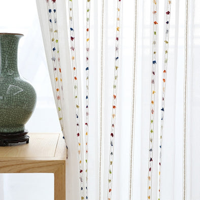 Rémy Colorful String Stitched Sheer Curtains - Curtains Online - Discover-curtains