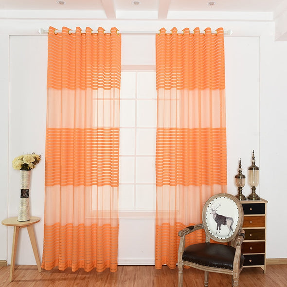 Rémy Flashy Orange Thick Sheer Curtain - Curtains Online - Discover-curtains