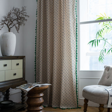 Rémy Polka Blue Flower Linen Curtains - Curtains Online - Discover-curtains