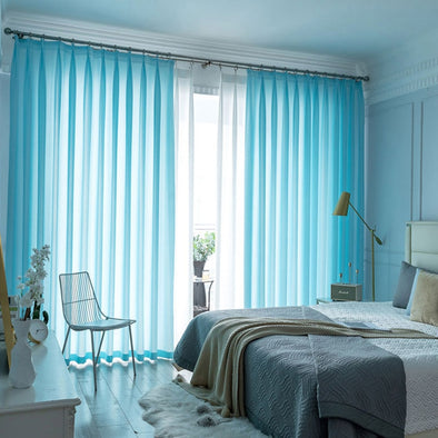 Jason Plain Crushed Sheer Curtain - Light Blue - Curtains Online - Discover-curtains