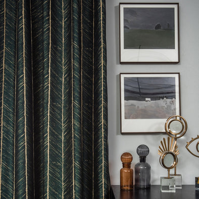 Taylor. H Luxury Gold Fishbone Pattern Jacquard Shade Curtain  - Bottle Green - Curtains Online - Discover-curtains