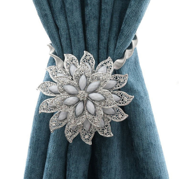 Pearl Simon Flower Shaped  Rhinestone Magnet Curtain Tieback - Curtains Online - Discover-curtains