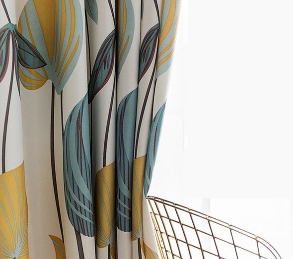 Astor Rideaux Yellow Blue Printed Leaf  Curtain - Curtains Online - Discover-curtains