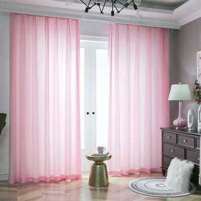 Jason Plain Crushed Sheer Curtain - Pink - Curtains Online - Discover-curtains