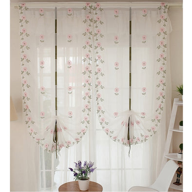 Homespun Embroidered Roman Short Kitchen Curtain -  Pink Flower - Curtains Online - Discover-curtains