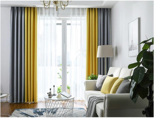 Brittany 2-Tone Blackout Curtains -  Gray Yellow - Curtains Online - Discover-curtains