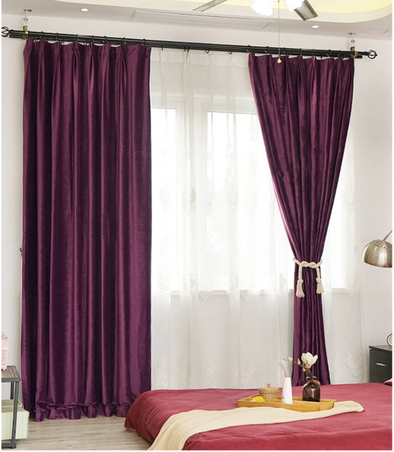 Brittany Luxury Velvet Plain Blackout Curtains  - Violet - Curtains Online - Discover-curtains