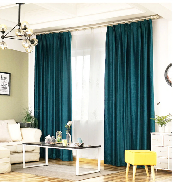 Brittany Luxury Velvet Plain Blackout Curtains - Peacock Green - Curtains Online - Discover-curtains