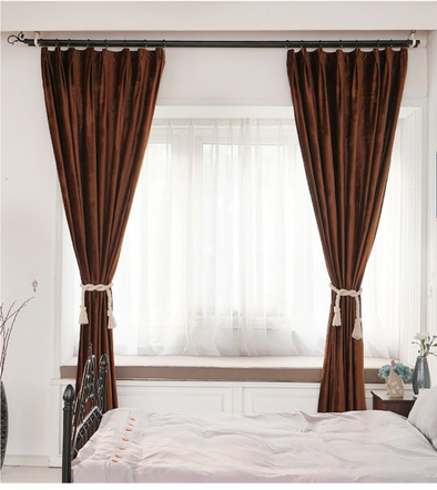 Brittany Luxury Velvet Plain Blackout Curtains - Brown - Curtains Online - Discover-curtains