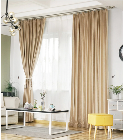 Brittany Luxury Velvet Plain Blackout Curtains - Ivory - Curtains Online - Discover-curtains