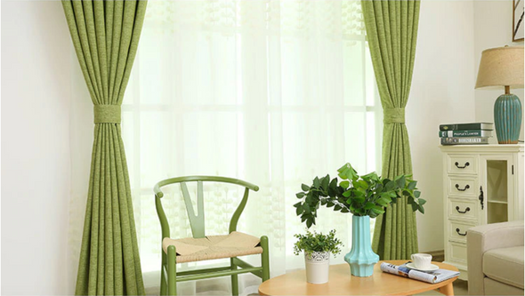 Modern Manhattan Linen Blackout Curtains - Green - Curtains Online - Discover-curtains