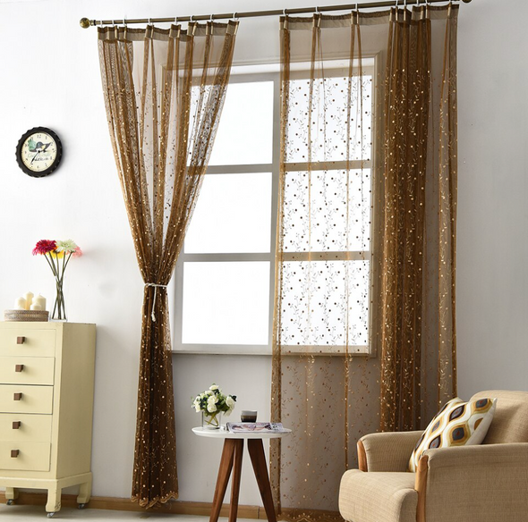 Jason Luxury Embroidered Leaves Sheer Curtain - Brown - Curtains Online - Discover-curtains