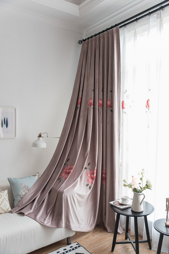 Astor Rideaux Warm Flower Hand Printed Blackout Curtain - Curtains Online - Discover-curtains