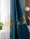 Adelaine Satin Embroidered Blackout Curtains Set - Blue - Curtains Online - Discover-curtains