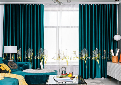 Adelaine Satin Embroidered Blackout Curtains Set - Green - Curtains Online - Discover-curtains