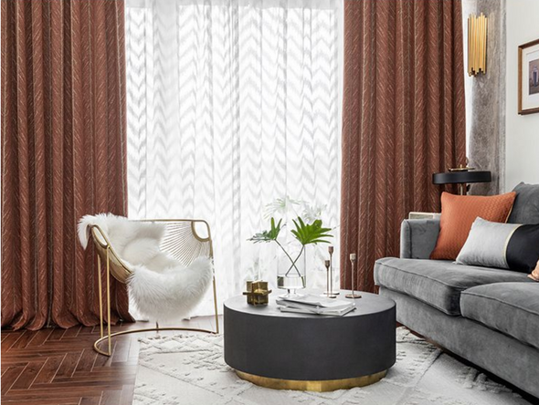 Taylor. H Luxury Gold Fishbone Pattern Jacquard Shade Curtain - Orange - Curtains Online - Discover-curtains