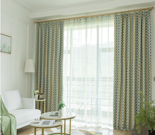 Jason Stroke Dot Stripes Blackout Curtain Set - Green - Curtains Online - Discover-curtains