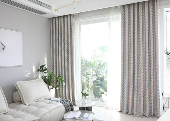 Jason Stroke Dot Stripes Blackout Curtain Set - Pink - Curtains Online - Discover-curtains