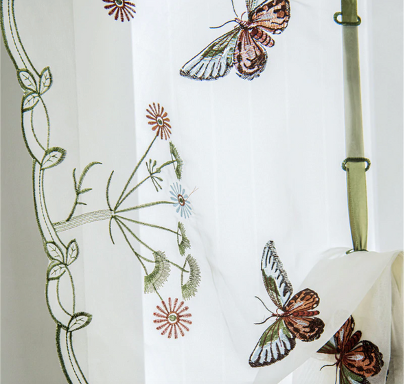 Homespun Embroidered Sheer Roman Short Kitchen Curtain -  Blue Butterfly - Curtains Online - Discover-curtains